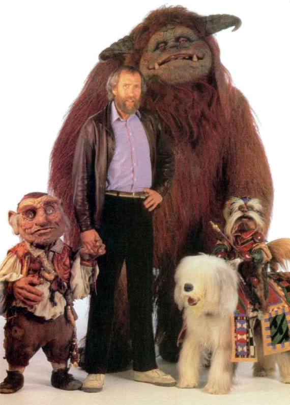 Jim Henson with characters from Labyrinth