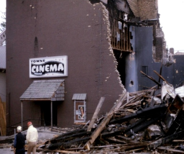 Photo of Towne Cinema after the fire