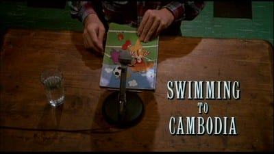 Spalding Gray as he gets ready to perform Swimming to Cambodia (1987)