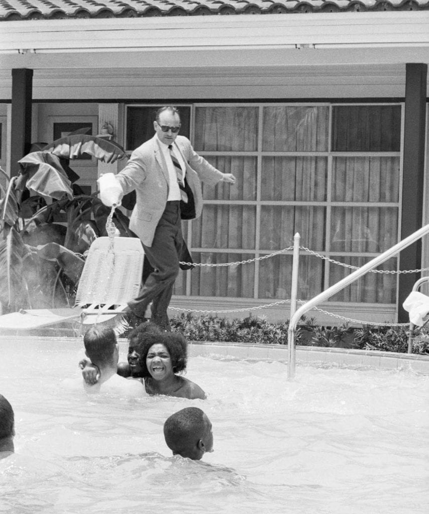 In 1964 protesters conducted a swim-in at the Monson Motor Lodge as part of the St. Augustine civil rights movement. Motel manager James Brock poured acid into the pool to try and force them out.