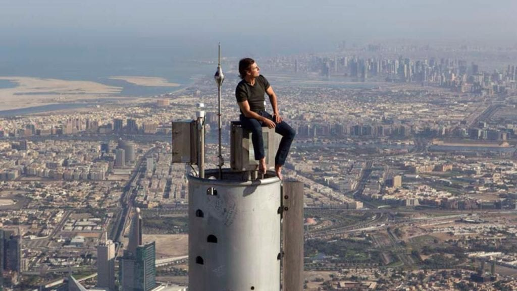 Tom Cruise sitting on the Burj Khalifa like normal humans do