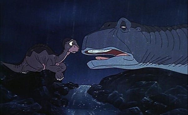 Heart-wrenching moment between Littlefoot and his Mother in <I>The Land Before Time</I>.
