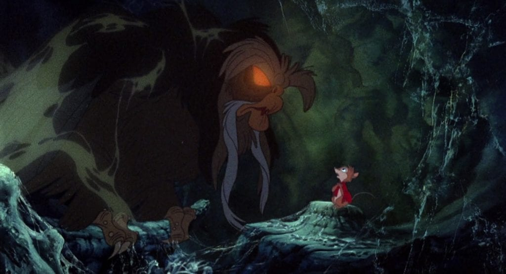 Ms. Brisby visits the Great Owl for advice about her sick child. Still from <I>The Secret of NIMH</I>.