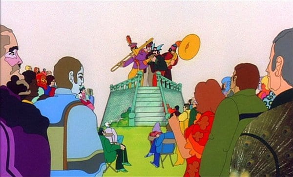 Sgt. Pepper's Lonely Hearts Club Band performs before an appreciative audience in Yellow Submarine (1968)