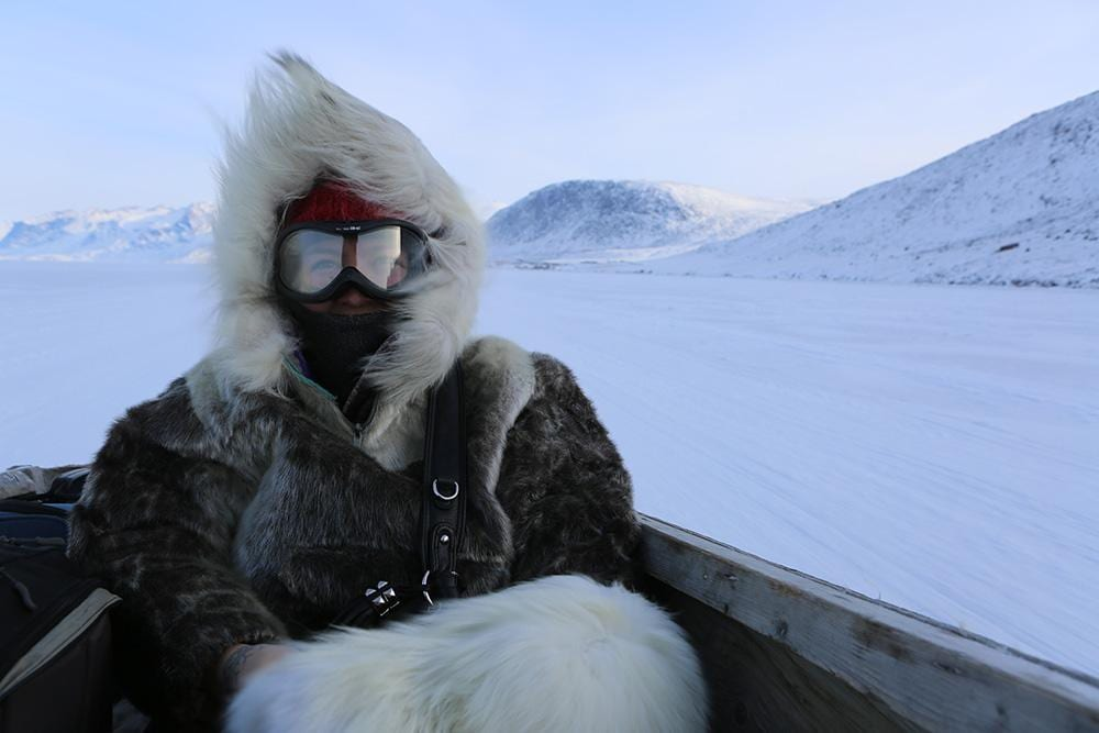 Filmmaker Alethea Arnaquq-Baril on the sea ice in Pangnirtung, Nunavut
