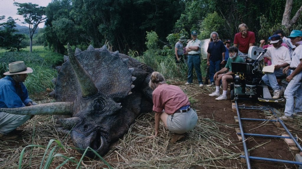 The animatronic triceratops in Jurassic Park