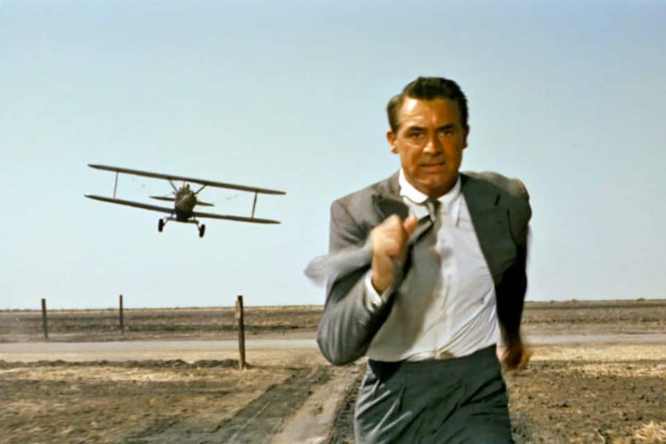 Cary Grant famously running from a crop duster in North by Northwest