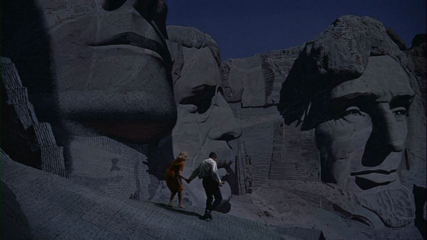 Cary Grant and Eva Marie Saint run on Mount Rushmore in North by Northwest