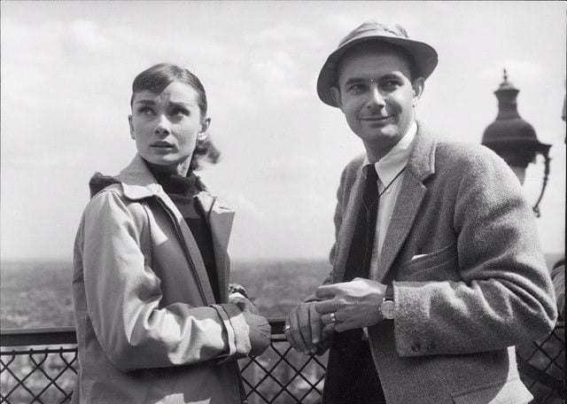 Hepburn and Donen during production of Funny Face