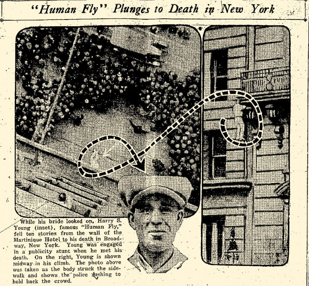 Harry Young falls to his death promoting Safety Last. Article from the Atlantic News Telegraph in Iowa on March 8, 1923.