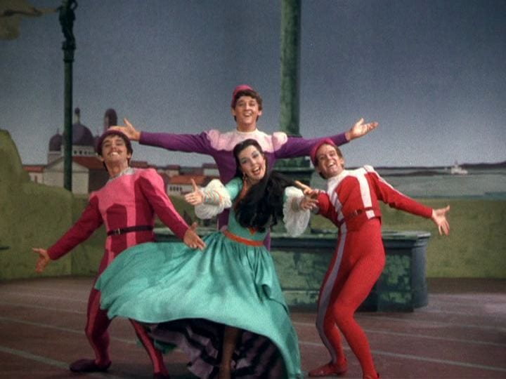 Tommy Rall, Bobby Van, Ann Miller, and Bob Fosse in Kiss Me, Kate