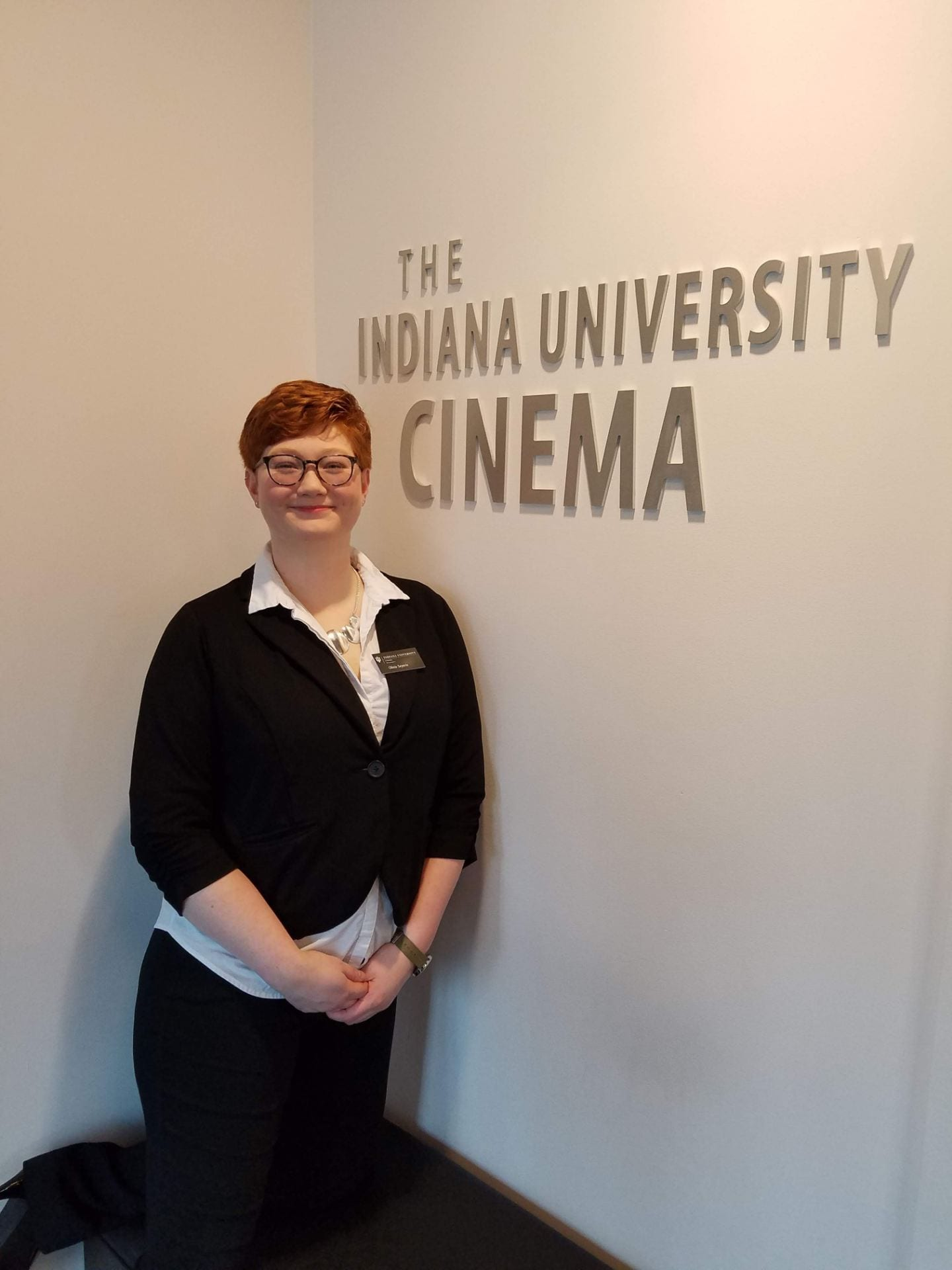Olivia Seyerle in the lobby of the IU Cinema