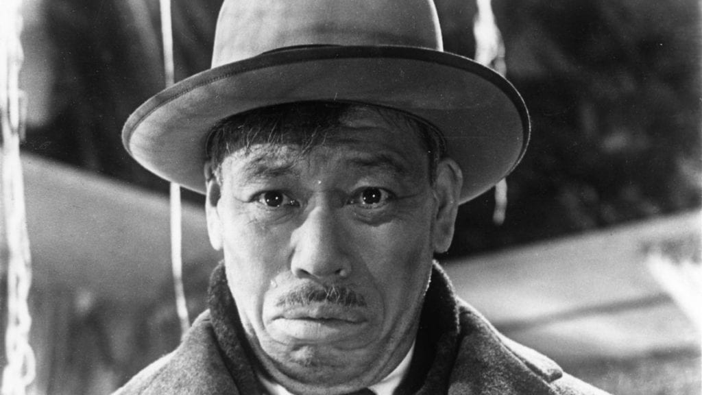 Takashi Shimura as Kanji Watanabe, who is reckoning with terminal cancer in Ikiru.