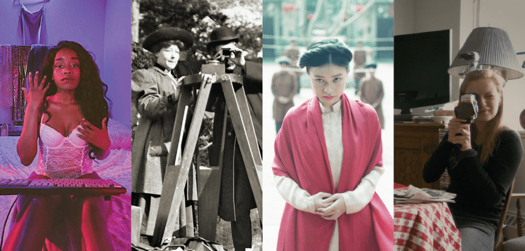 From left to right: Still from Jezebel, still from Be Natural: The Untold Story of Alice Guy-Blaché, still from The Third Wife, still from Stories We Tell