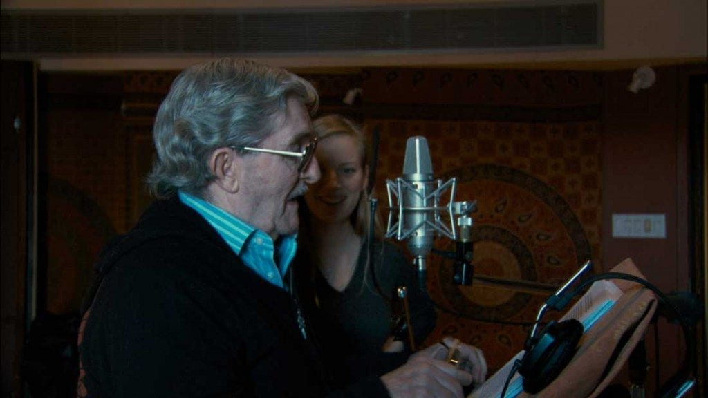 Michael Polley recording voice-over of his perspective on his family's story in Stories We Tell (2012).