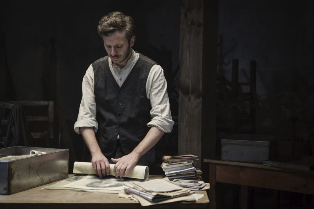 Still of Andrew Bering as Israel Lichtenstein from Who Will Write Our History. (Photo credit: Anna Wloch.)