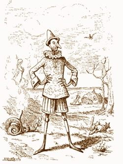 One of Enrico Mazzanti's illustrations from the first bound edition of Pinocchio