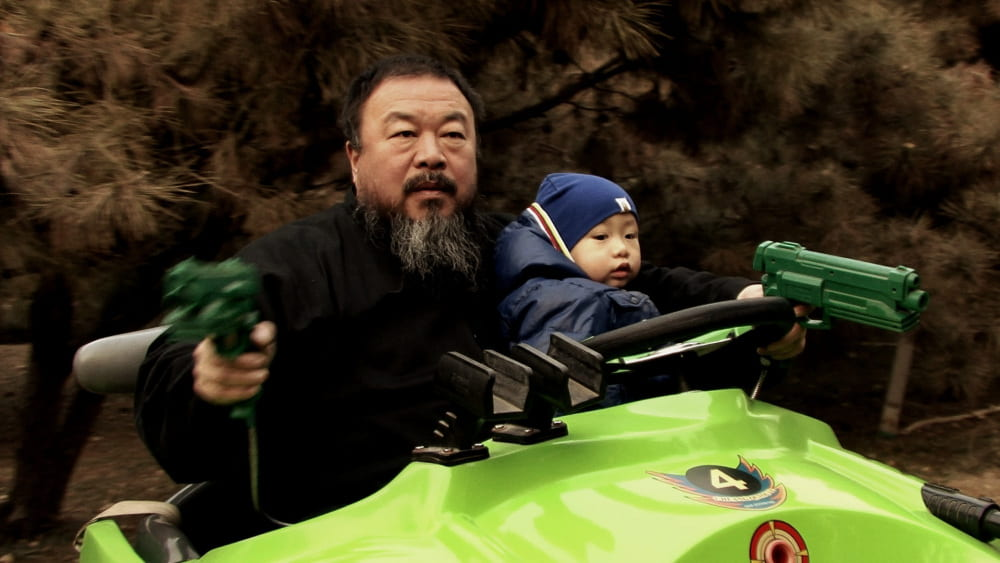 Still of Ai Weiwei and his son from Ai Weiwei The Fake Case
