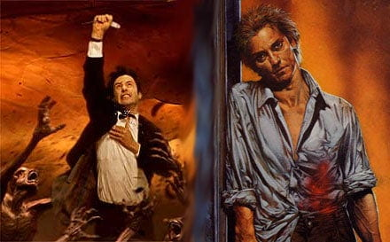 A comparison between Keanu Reeves and a comic-book illustration of Constantine