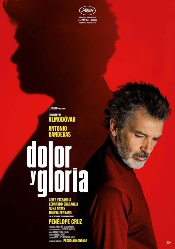 Poster of Pain and Glory (2019) that features Almodovar's silhouette.