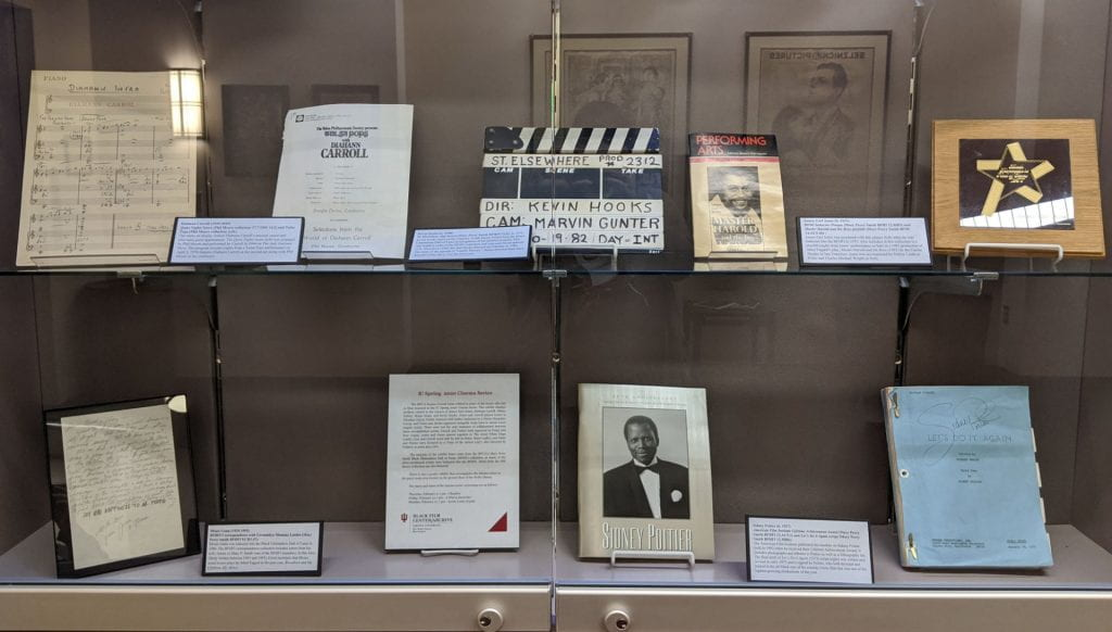 An exhibit curated by BFC/A archival assistant Audrey B. Hood, and featuring items from the Black Film Center/Archive related to the actors featured in the Love! I'm in Love! film series is currently on exhibit in the IU Cinema's display case. Highlights include a script signed by Sidney Poitier, James Earl Jones' induction plaque from the Black Filmmakers Hall of Fame, and a slap board used by Kevin Hooks while filming an episode of St. Elsewhere. There is also a poster exhibit on display in the quiet study area located on the ground floor of the Wells Library.