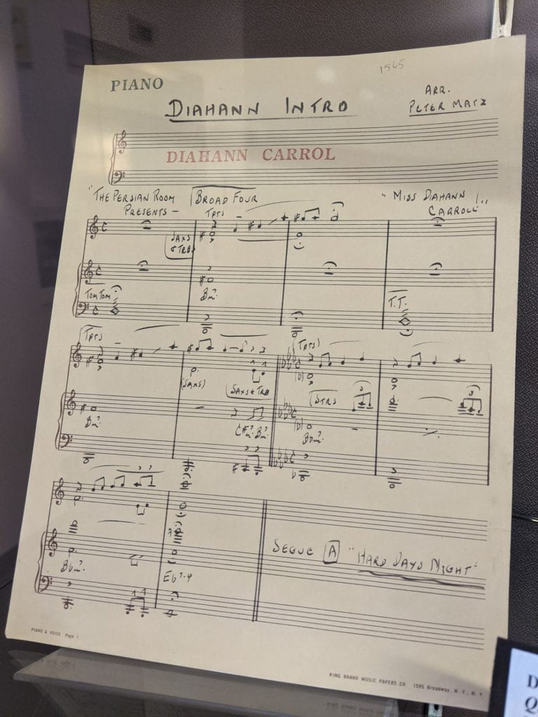 Pictured here is a musical arrangement created for Diahann Carroll's performance at the Plaza Hotel's Persian Room.