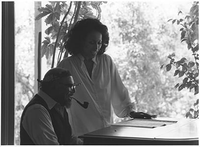 Phil Moore accompanies Diahann Carroll in preparation for the Black Filmmakers Hall of Fame's Oscar Michaeux Awards Ceremony, circa 1980s (Indiana University, Mary Perry Smith Black Filmmakers Hall of Fame Archives Collection, COL 5 PA 995)
