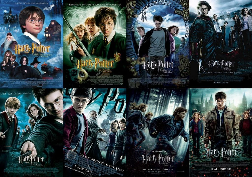 The Harry Potter franchise (2001-2011) depict their main characters over the course of a decade as they become young adults.