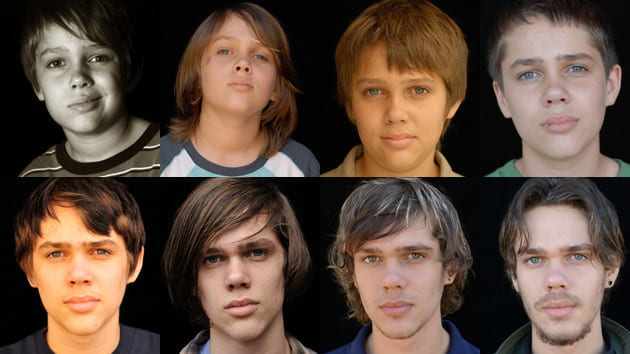 Photos depicting lead actor Ellar Coltrane at every stage of filming Boyhood (2014).