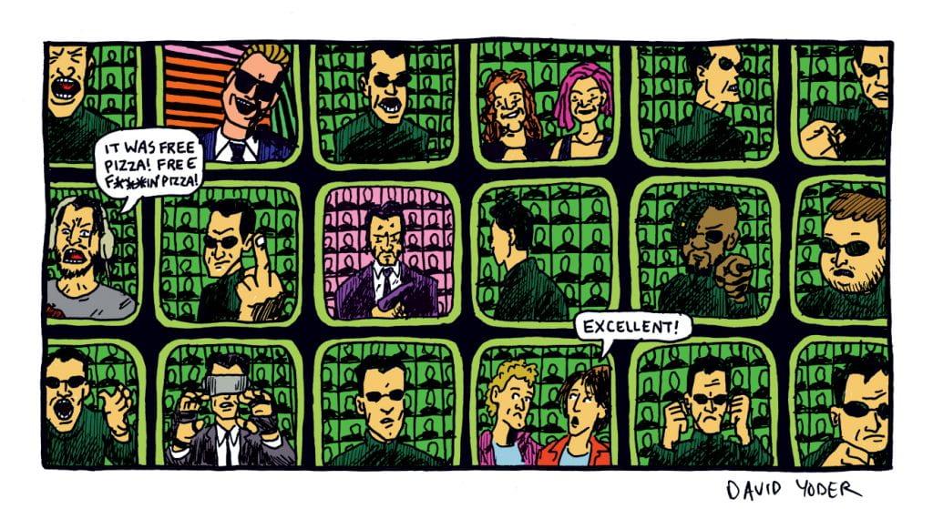 Comic panel of The Matrix by David Yoder