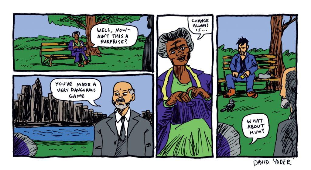 Comic panel by David Yoder