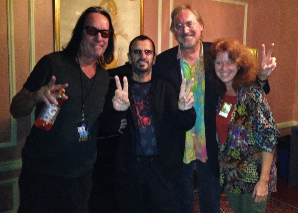 Professor Glenn Gass with his wife Julie and Ringo Starr