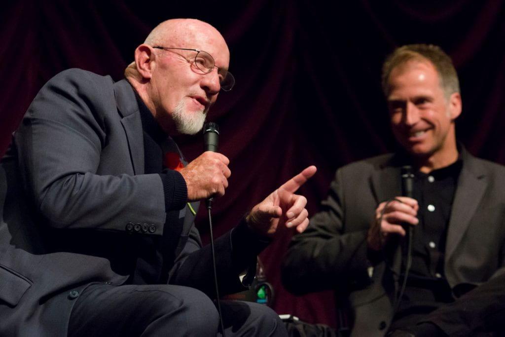 Jonathan Banks, left, and Jon Vickers during Banks's 2016 visit to the Cinema