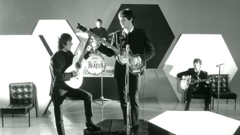 The Beatles performing in A Hard Day's Night (1964).