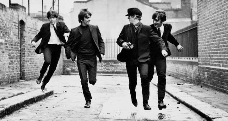 Still of The Beatles running in A Hard Day's Night (1964).