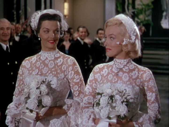 Russell and Monroe in Gentlemen Prefer Blondes