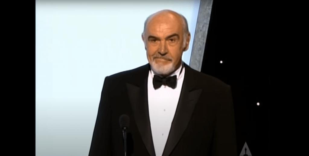 Sean Connery grimacing at an awards show
