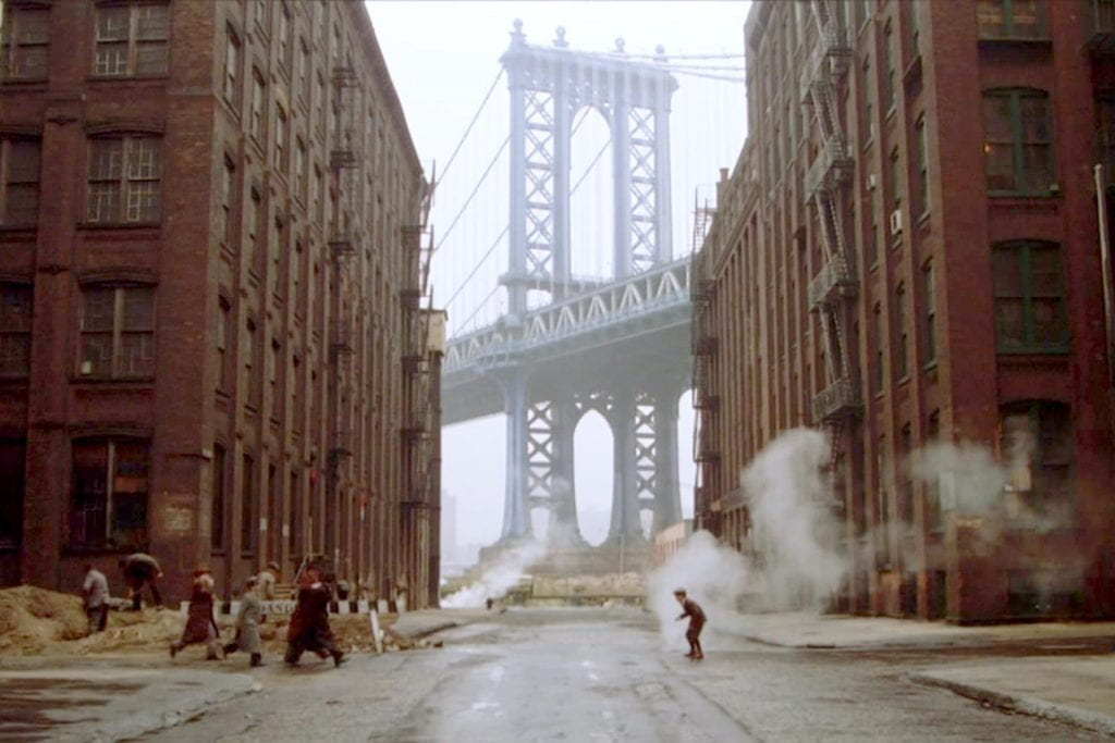 The famous shot of Noodles and his gang walking by the Manhattan Bridge in Once Upon a Time in America (1984).
