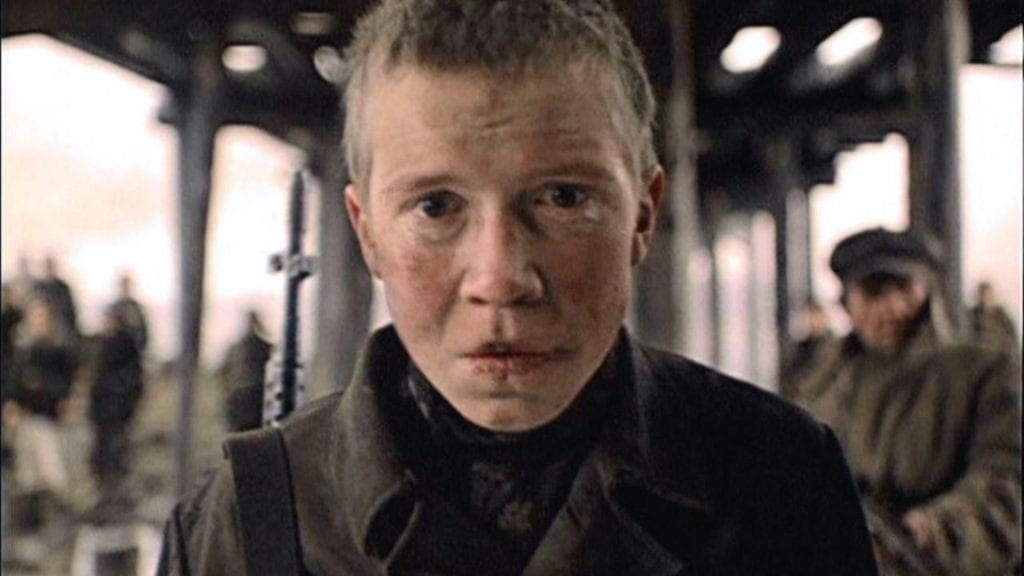 A visibly aged Aleksey Kravchenko as Flyora in Come and See.