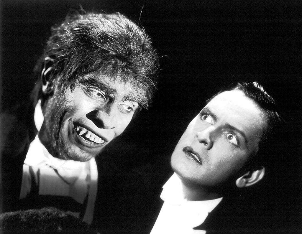 Fredric March as Mr. Hyde (left) and Dr. Jekyll (right) in the 1931 film version.