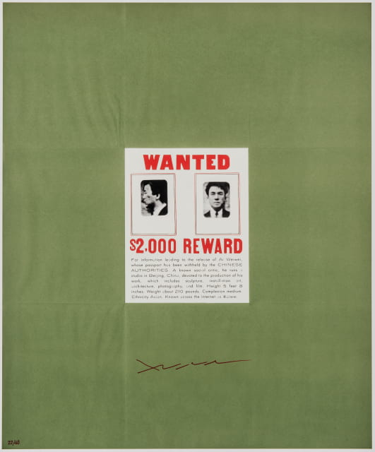 Ai Weiwei (Chinese, born 1957). Wanted, 2014 (based on a 1923/1963 work by Duchamp). Color lithograph on paper, image: 22 15/16 x 19 in., sheet: 23 15/16 x 20 in. Museum purchase with funds from the Thomas T. Solley Endowed Fund for Asian Art and the Clarence W. and Mildred Long Art Purchase Fund, Eskenazi Museum of Art, Indiana University 2018.10