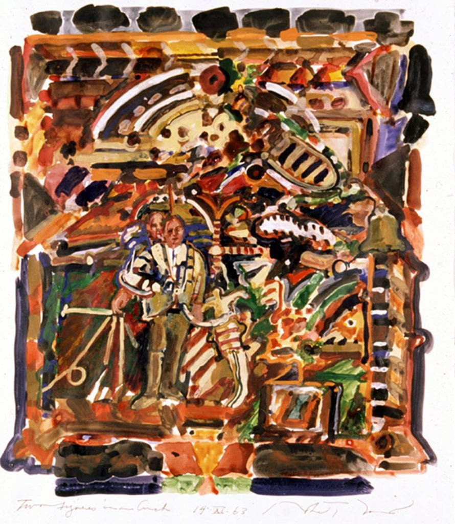 Robert Barnes (American, born 1934). Two Figures in an Arch, 1963. Watercolor on paper, image: 22 13/16 x 19 ¾ in. Eskenazi Museum of Art, Indiana University 65.68