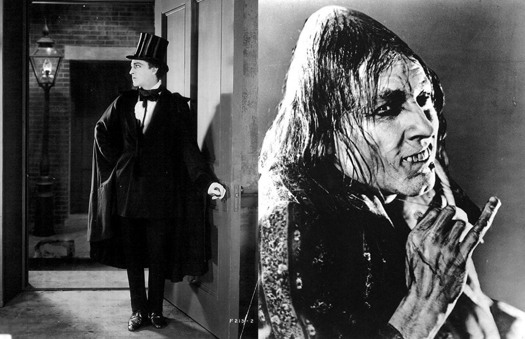 John Barrymore in the 1920 silent version, as Jekyll (left) and Hyde (right): a triumph of stage makeup and hammy acting.