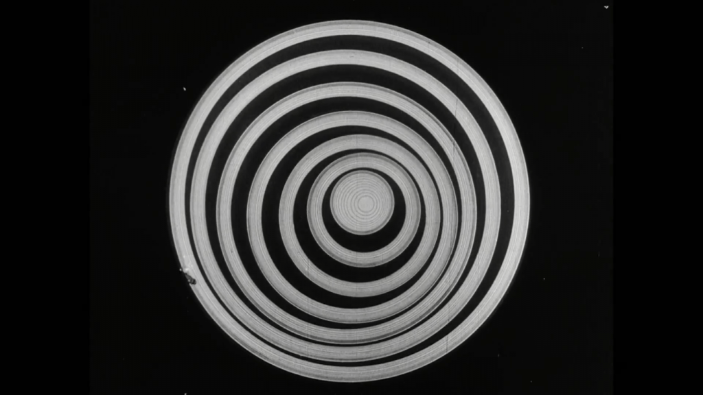 from 'Anemic Cinema,' abstract, concentric white circles on a black background