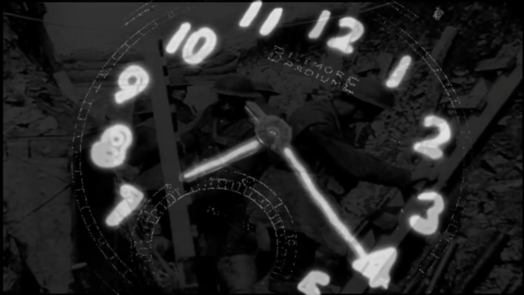 Clock face with glowing dials superimposed over war footage