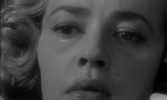 Opening shot of Jeanne Moreau in Elevator to the Gallows