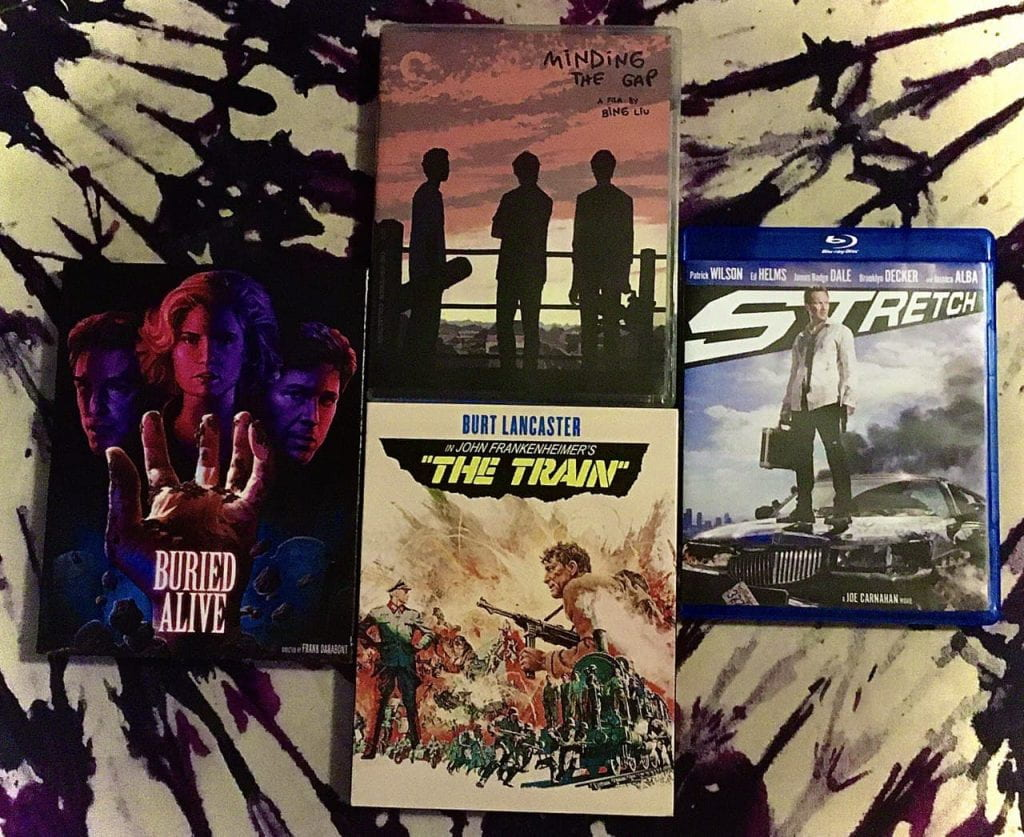 Blu-rays of BURIED ALIVE, THE TRAIN, STRETCH, and MINDING THE GAP