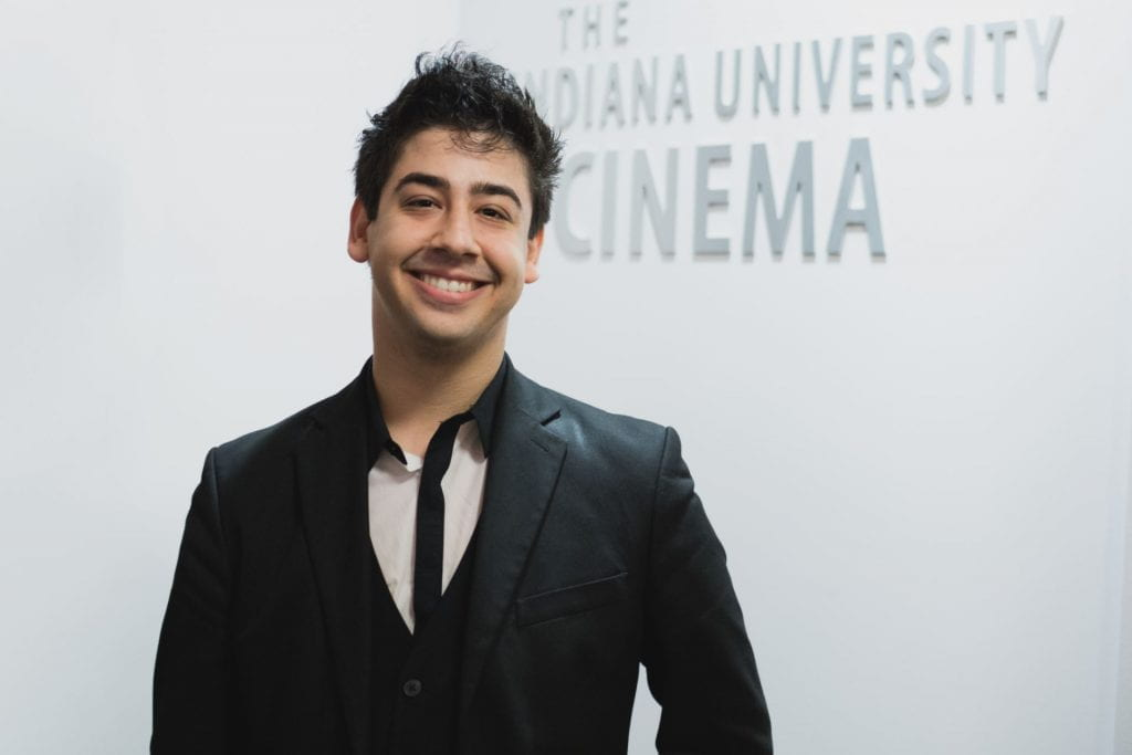 Ari Barack Fisher in IU Cinema's lobby after the world premiere of his orchestral score for The Return of Draw Egan on February 20, 2016.