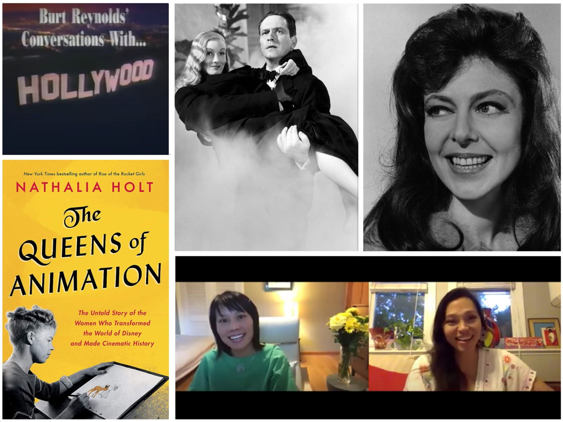Clockwise from top left: Title card from Burt Reynolds' Conversations with...; still from I Married a Witch; Elaine May; Ellen Wu and Isabel Sandoval during Sandoval's Jorgensen Program in September 2020; The Queens of Animation book cover