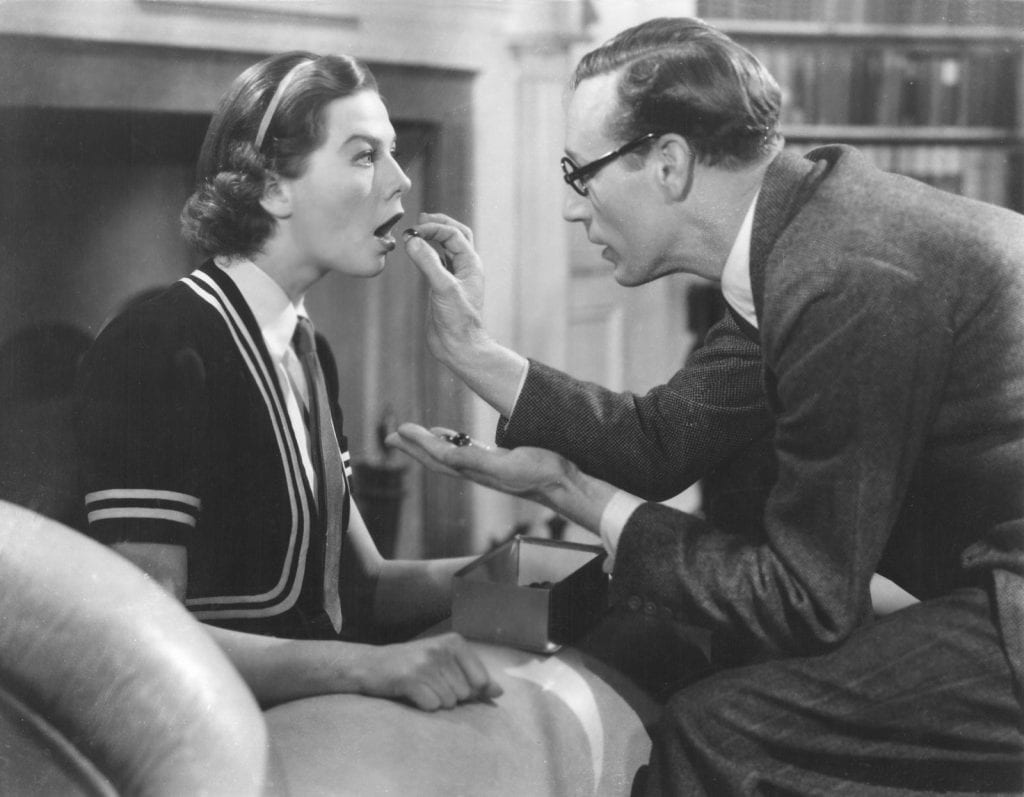 Higgins teaching Doolittle in Pygmalion